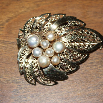 Mystery Costume Brooch with Faux Pearls - Costume Jewelry