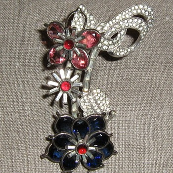 Pink, white & blue rhinestone brooch - Costume Jewelry