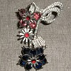 Pink, white & blue rhinestone brooch