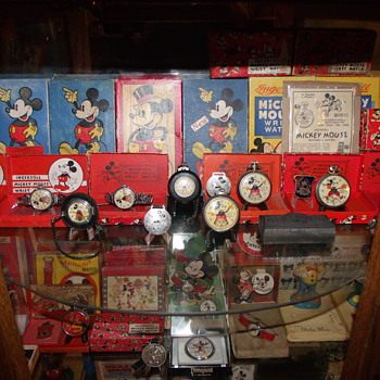 A Veiw of a couple Mickey Shelves - Wristwatches