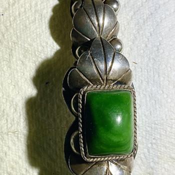 Mexico silver big  antique malachite chunky bracelet - Fine Jewelry