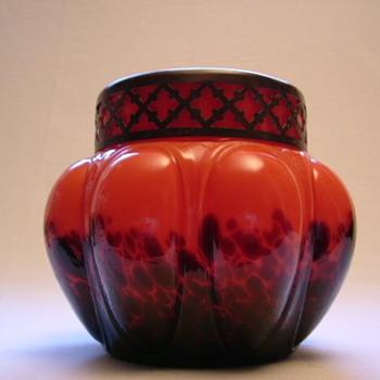 Kralik Art Deco Spatter Glass Rose Bowl - Art Glass