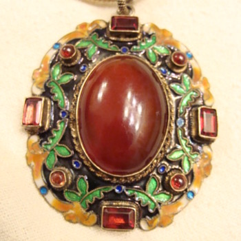 Chinese Carnelian Enameled Pendant - Fine Jewelry