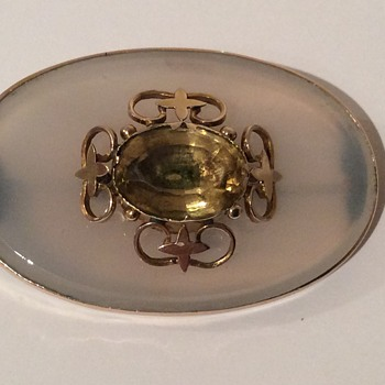 Victorian Chalcedony & Citrine Brooch - Fine Jewelry