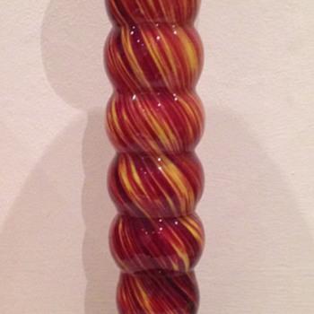 Cased tango glass candlestick - Czech Art Deco - Art Glass