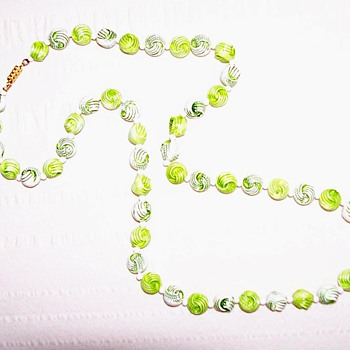 green plastic necklace - Costume Jewelry