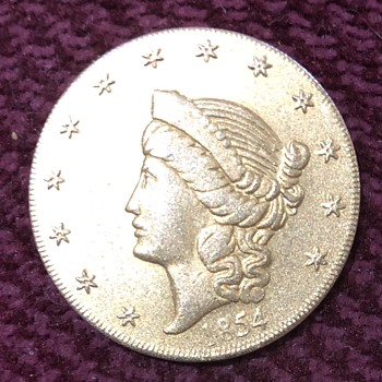 Gold piece with 1854 & Liberty Head - Advertising