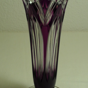 Bohemian Caesar ~ Hand Cut Crystal Vase ~ Lotus Pattern  - Art Glass