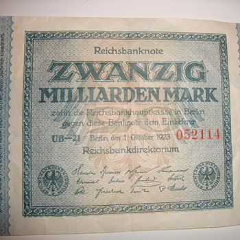 world war 2 recession german bank note - Paper