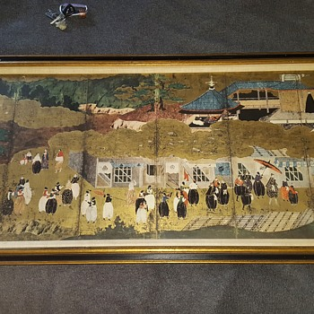 "New York Gallery Society 1950s/60s Gold Leaf Repro Painting (not print) of 17th century Japanese kano momoyama namban ""Portuges - Fine Art"