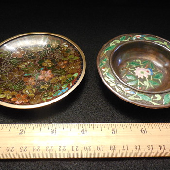 Chinese Cloisonne and Cloisonne look Small Brass Dishes - Asian