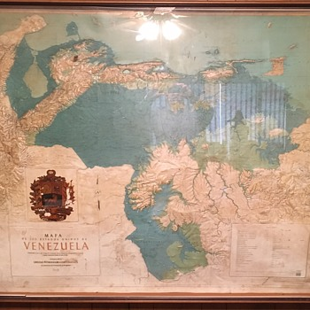 Raised Relief Map of Los Estados Unidos De Venezuela Oil Exploration  - Paper