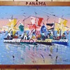 Panama oil folk art painting and carved frame