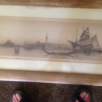 etching of Venice - Fine Art