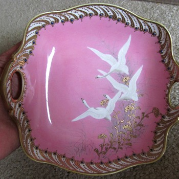 Flying swans on pink dish - China and Dinnerware
