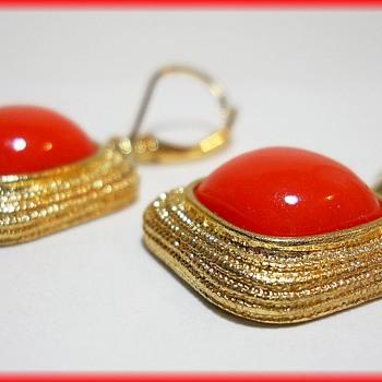 MONET - Vintage Earrings ( Gold tone and orange ) - Costume Jewelry