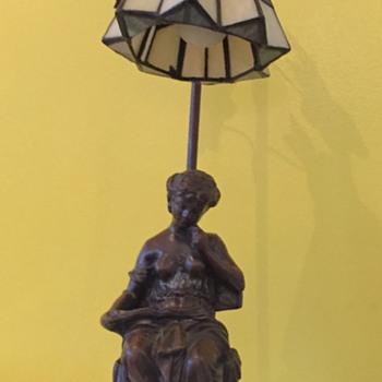 Art Nouveau Woman reading Stain Glass lamp.