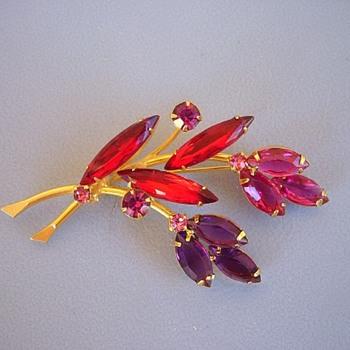 Flower Brooch Red Amethyst Pink Rhinestones Golden  - Costume Jewelry
