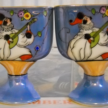 Noritake Hand Painted Pierrot Lusterware  Mini Vases - Asian