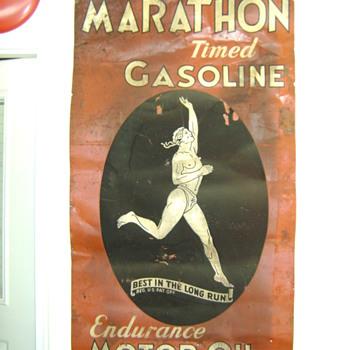 Vintage Marathon Gasoline Sign  - Signs
