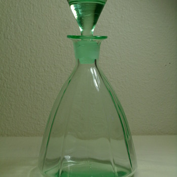 Green Glass Vaseline Decanter with Ground Stopper - Glassware