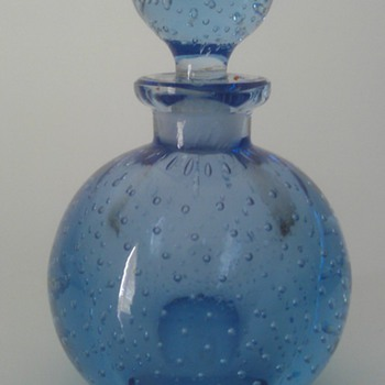 Vintage Czech CONTROLLED BUBBLES Blue Art Glass Perfume Bottle handblown w/Dauber - Bottles