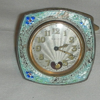 Guilloche enamel on silver swiss clock Ralco - Clocks