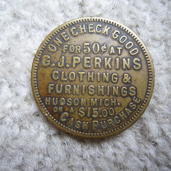 G.J. Perkins Clothing & Furnishings Hudson Mich. Good Luck Swastika Discount Token - US Coins