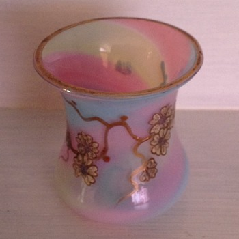 Bohemian opaline rainbow swirl hand painted miniature vase - Harrach - Art Glass