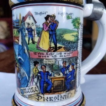 German Regimental Stein, 12th Royal Bavarian Infantry Reserve, 10th Company, Neu-Ulm, Made for Johann Freinberger, 1905 - Breweriana