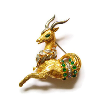 Vintage Kenneth Jay Lane K.J.L. Jeweled Capricorn Brooch Pin - Costume Jewelry