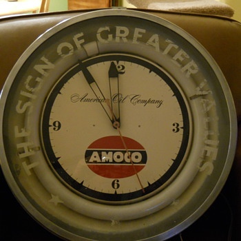 OLD AMACO GAS STATION CLOCK - Advertising