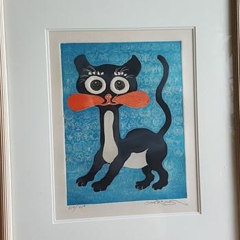 """Motoi Oi Embossed Print """"Black Kitten"""" - Fine Art"""