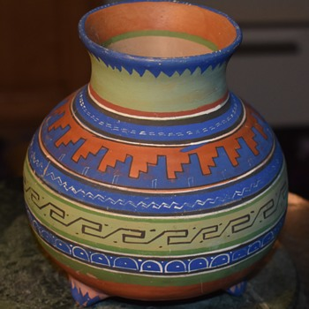Aztec Tourist Ware Three-legged Urn from Mexico - Pottery