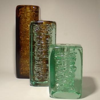 3 Frantisek Vizner square whirlpool vases from 1968 -- Skrdlovice -- Czech art glass - Art Glass