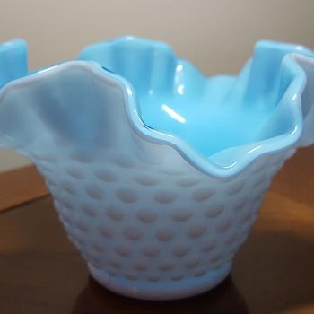 Kanawha blue and hobnail milk glass bowl - Art Glass