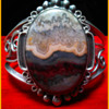 Vintage 1970's Handmade Signed HR (Henry Rosetta ?) Sterling Silver Lace Agate Cuff Bracelet
