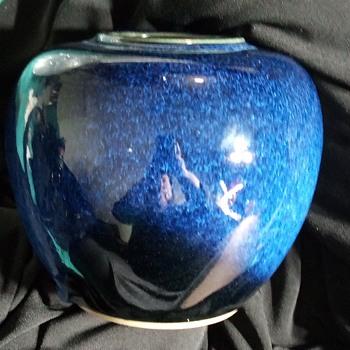Cobalt with white glazed OMC Japan vintage vase - Asian