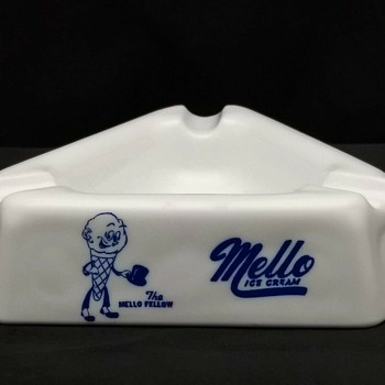 Mid Century Mello Ice Cream Advertising Milk Glass Ashtray - Glassware