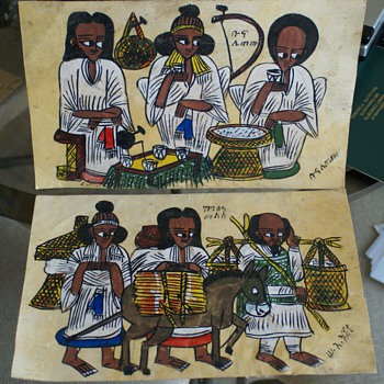 Unknown ARTIST  belive to be  Vintage Egyptian/Ethiopian  Art paintings Unknown Material