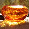 Murano? Bohemian? Orange Threaded Bowl HELP?  Polished Pontil