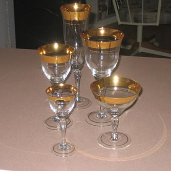 Antique gold rim glass set - Glassware