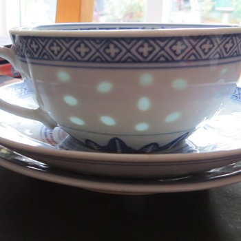 Tienshan Rice Flower Cup and Saucer - China and Dinnerware