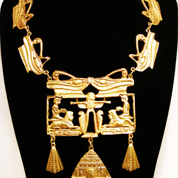 Vintage Kenneth Jay Lane Egyptian Eye of Horus Necklace - Costume Jewelry