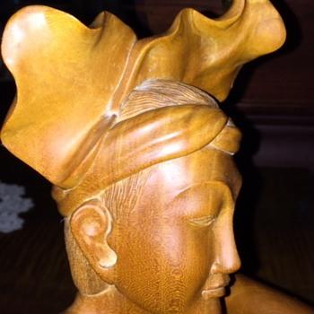 Beautiful Satin Wood Balinese Wooden Boy  Carving - Fine Art
