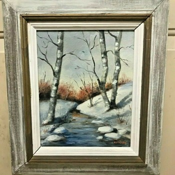 """Winter Stream"" signed Hubbard.  Oil on Canvas Board - Fine Art"