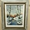 """Winter Stream"" signed Hubbard.  Oil on Canvas Board"