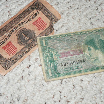 WW SCRIPT AND OLD TOBACCO COUPON - Military and Wartime