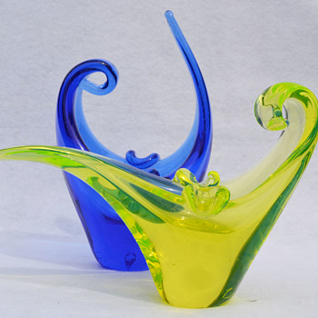 Murano cobalt and vaseline ashtrays - Art Glass