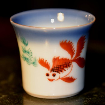 Porcelain Sake Cup with Goldfish and Seaweed Decoration - Asian